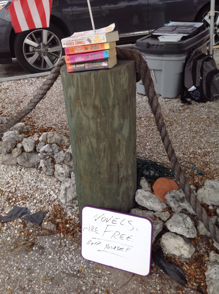 Novels for the taking in the heart of trendy, touristy Estero Island's Ft. Myers Beach community.