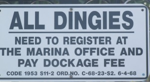 "Fort Lauderdale's City Marina at the foot of the Las Olas bridge uses the ""Olde English"" spelling for dinghies."