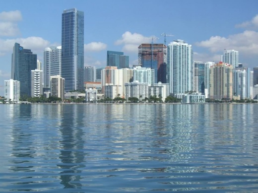 Miami Florida gleams in this Biscayne Bay vista, but life in Little Havana was far from glamourous.m
