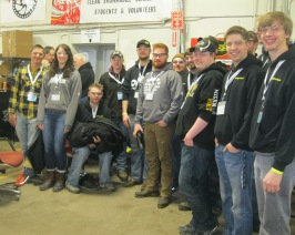 Our Michigan Tech Clean Snowmobile Challenge Team obligingly poses for a photo.