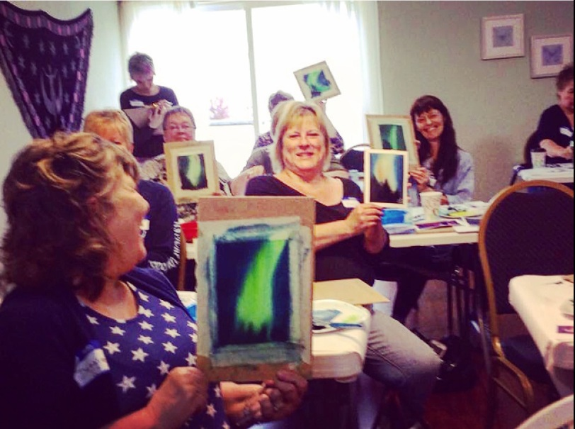 Watercolor classes by Donna Lenard include lessons on capturing the northern lights.