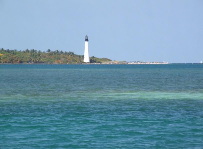 Cape Florida Light on Key Biscayne. You clearly see the shoals (brown brown run aground) between the two channels leading into the bay.