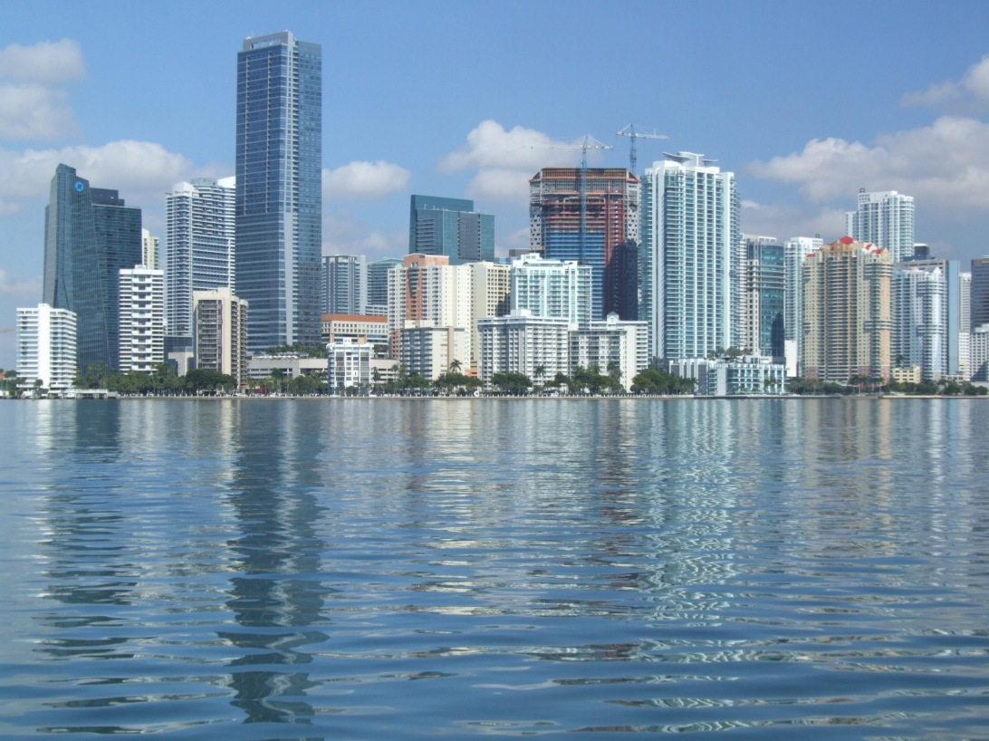The Miami Skyline looking across from sailing vessel Chip Ahoy's anchorage off Key Biscayne.