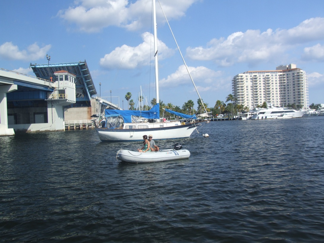 In our dinghy Snowflake, tender to Chip Ahoy, on Las Olas mooring field. Grateful to David for the shots—one of which appeared in Sailling Magazine.