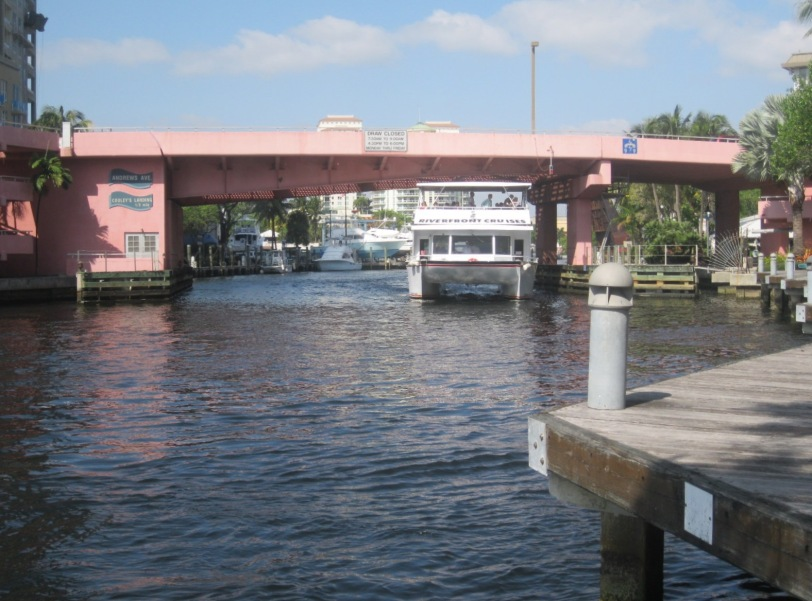 Water pours out as one of the three lift bridges on the New River in downtown Fort Lauderdale rises. Can't say I'd be comfortable trying to maneuver a 32-foot sailboat amidst the man-made and natural currents in this busy, narrow stretch of waterway.