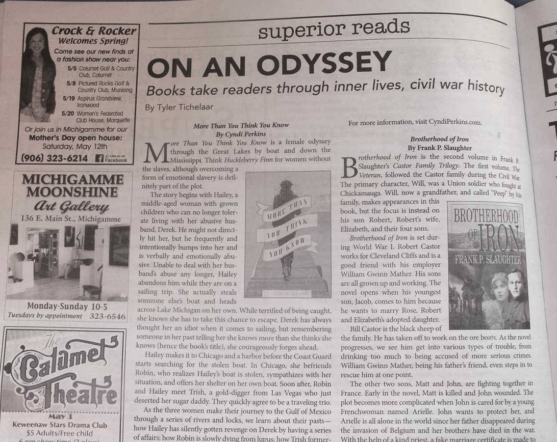 book review on newsprint of More Than You Think You Know titles On An Odyssey.